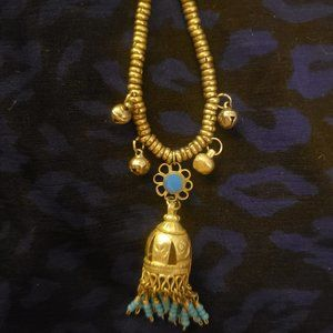 Silver/Turquoise Bead Bell Pendent Necklace